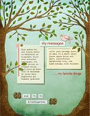 Background page, with text plates, framed by two strong healthy trees, with big trunks, leaves, and