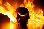 Horizontal Fire Skull. Halloween. Human Skull on fire. Burning Skull on fire with gas and oil. poster