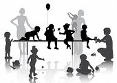 stock photo of fascinator  - 8 children playing with some toys - JPG