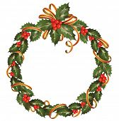 foto of christmas wreath  - circle of the christmas holly branch - JPG