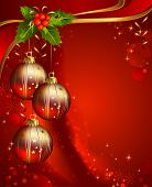 foto of christmas ornament  - three shiny ball on the red Christmas background - JPG