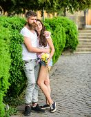Man Bearded Hipster Hugs Gorgeous Girlfriend. Couple In Love Romantic Date Walk Nature Park Backgrou poster