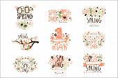 Spring, 1 May Set For Label Design. Spring Holidays, First May, International Labor Day Colorful Vec poster