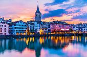 Scenic Summer Sunset View Of The Old Town Pier Architecture And Limmat River Embankment In Zurich, S poster