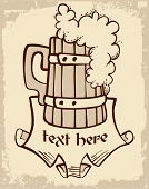 image of beer mug  - woody beer mug and place for text - JPG