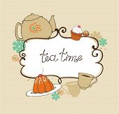 image of tea party  - card with teapot - JPG