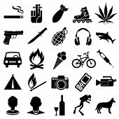 stock photo of grenades  - Set of different black vector symbols - JPG