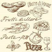 Постер, плакат: морепродукты рисунков