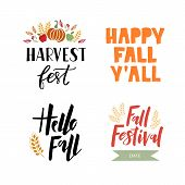 Harvest Season - Hand Drawn Lettering Set With Autumn Harvest Symbols. Harvest Fest Poster Design. A poster