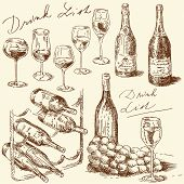 image of wine bottle  - hand drawn wine collection - JPG
