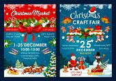 Christmas Fair Poster Design Of Santa And Snowman In Sleigh With New Year Gifts Bag. Vector Christma poster