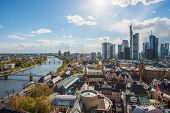 View Of Skyline At Center Business District In Frankfurt, Germany. Frankfurt Is Financial Business C poster