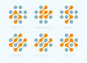 Dots Cross Vector Emblem Set. Innovate Bio Tech Modern Icons. Digital Science Labosatory Isolated Lo poster