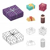 Gift Box With Bow, Gift Bag.gifts And Certificates Set Collection Icons In Cartoon, Outline Style Ve poster