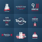 Patriot Day Design Template Collection. September 11. 2001. Poster, Cards, Banners And Vector Clipar poster