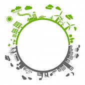 green life vs. pollution - with space for your text - sustainable development concept