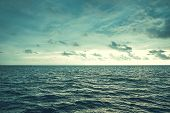 Dramatic Clouds On Sky Over The Waves Of The Sea . Sea Wave Surf. poster