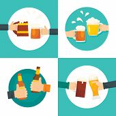 Beer Cheers Bottles Glass Craft Mug Drinking Cheers Banner Concept Set. Flat Illustration Of 4 Beer  poster