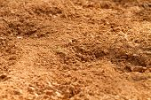 pic of field_stone  - Close-up shallow depth of field shot of red clay soil dirt in a farm field in South Carolina.