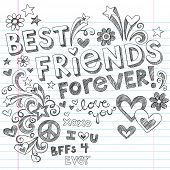 Hand-Drawn Best Friends Forever Love & Hearts Sketchy Back to School Style Notebook Doodles Design E