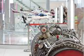 image of gyrocopter  - Motor of helicopter on exhibition - JPG