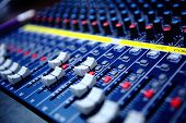 pic of mixer  - controls of audio mixing console - JPG