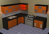 stock photo of minimalis  - Design interior for kitchen room that built from combined wood and granite used on the corner of the house - JPG