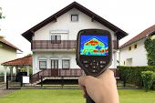 stock photo of temperature  - Detecting Heat Loss at the House With Infrared Thermal Camera - JPG