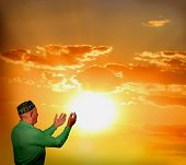 stock photo of namaz  - Muslim man reading Namaz - JPG