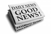 stock photo of newspaper  - Daily news newspaper headline reading good news - JPG
