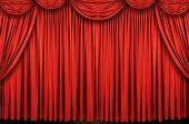stock photo of curtains stage  - Large red curtain stage on a horizontal format - JPG
