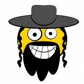 picture of circumcision  - Jewish guy smiling cartooned head with classic hat - JPG