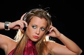 Gorgeous Girl With Headphones Enjoying Music