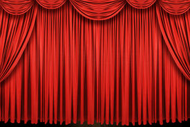 image of curtains stage  - Large red curtain stage on a horizontal format - JPG