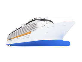 stock photo of cruise ship  - isolated cruiser front view on a white background - JPG