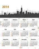 2014 Year Stylish Calendar On Cityscape Grunge Background