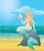 stock photo of undine  - Illustration of a Beautiful mermaid girl with sea shell sitting on the stone - JPG