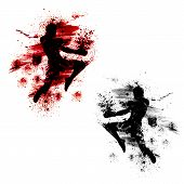 pic of muay thai  - Flying knee of muay thai with blood spatter - JPG