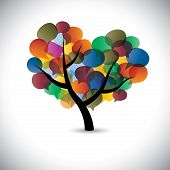 stock photo of conversation  - Colorful tree chat icons  - JPG