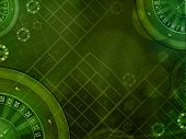 image of roulette table  - casino roulette green horizontal background dark illustration - JPG