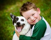 stock photo of blue  - Child lovingly embraces his pet dog - JPG