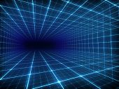 image of grids  - Abstract digital tunnel with blue grid lines - JPG