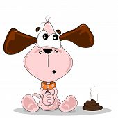 stock photo of excrement  - Cartoon dog sitting next to a pile of dog dirt - JPG