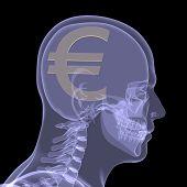 Постер, плакат: Золото евро в голове