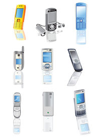 picture of mobile-phone  - Collection of 9 different colored mobile phones vector illustrations - JPG