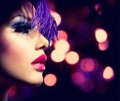 stock photo of violet  - Fashion Model Girl - JPG