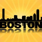 Boston skyline reflected with sunburst illustration