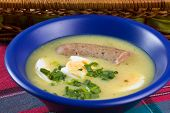 Traditional Polish White Borscht With Eggs And Sausage