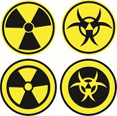 stock photo of hazard symbol  - Bio hazard icons set in two different styles vector illustration - JPG