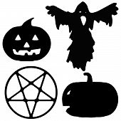 picture of pentagram  - Silhouette illustrations of a ghost - JPG
